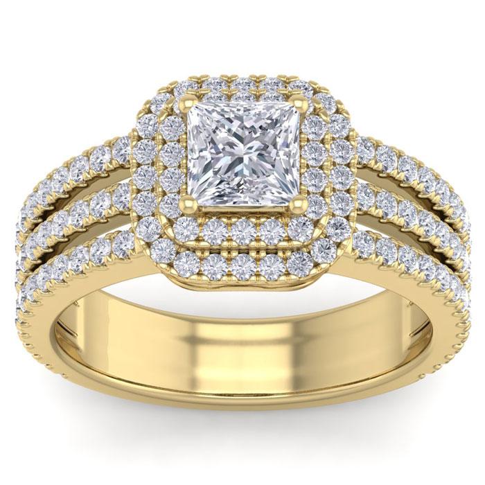 2 Carat Princess Cut Double Halo Diamond Engagement Ring in 2.4 Karat Gold (6.30 g)™ (