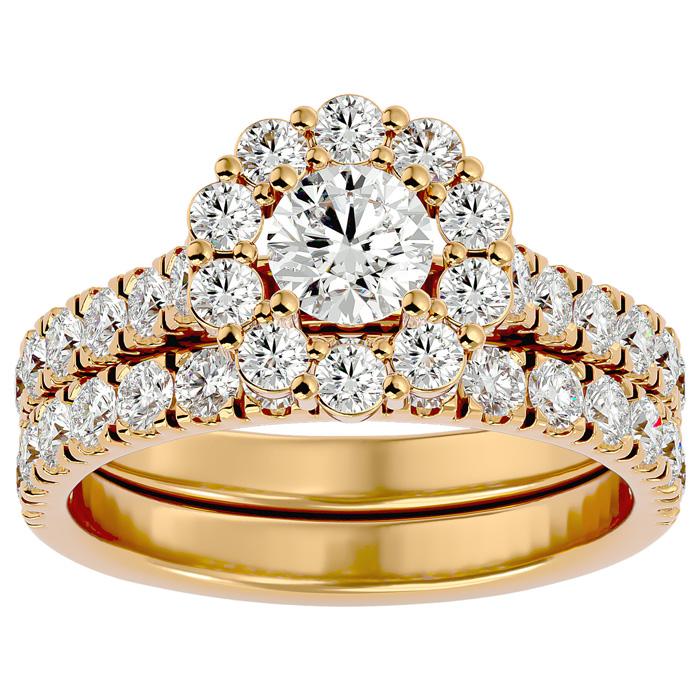 2 Carat Halo Diamond Bridal Ring Set in 14K Yellow Gold (5 g) (