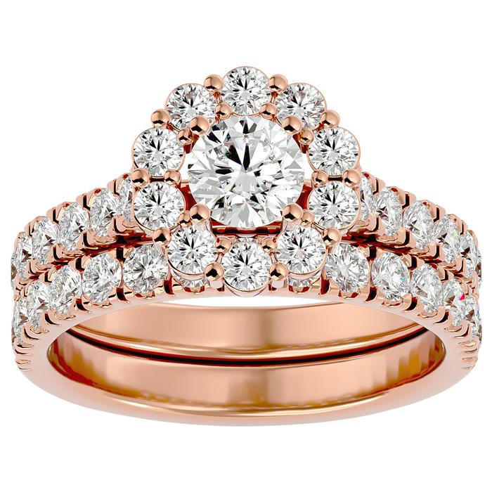 2 Carat Halo Diamond Bridal Ring Set in 14K Rose Gold (5 g) (