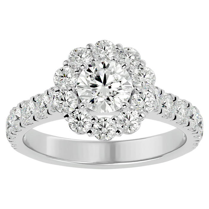 2 Carat Halo Diamond Engagement Ring in 14K White Gold (5 1/2 g) (
