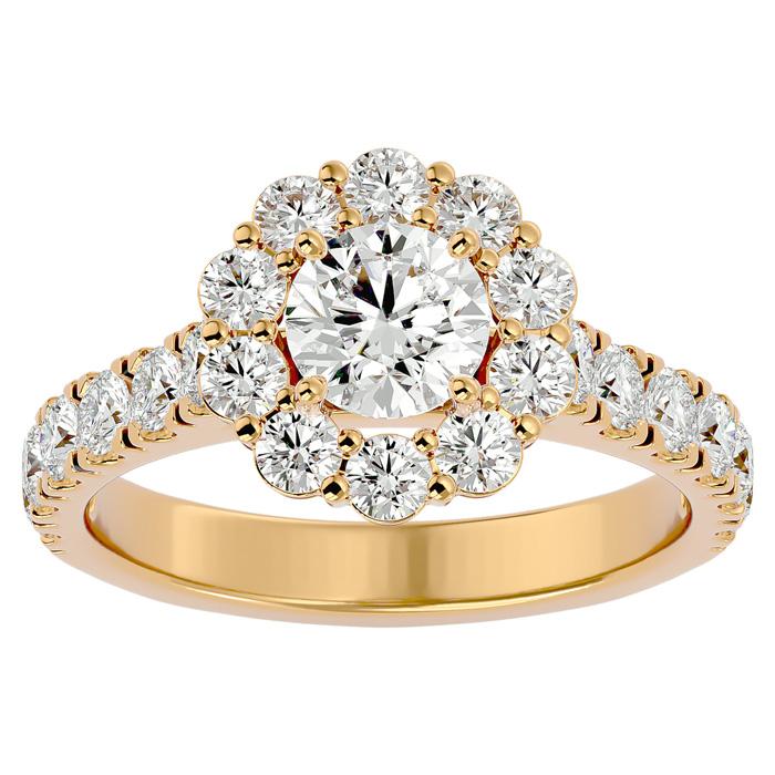 2 Carat Halo Diamond Engagement Ring in 14K Yellow Gold (5 1/2 g) (