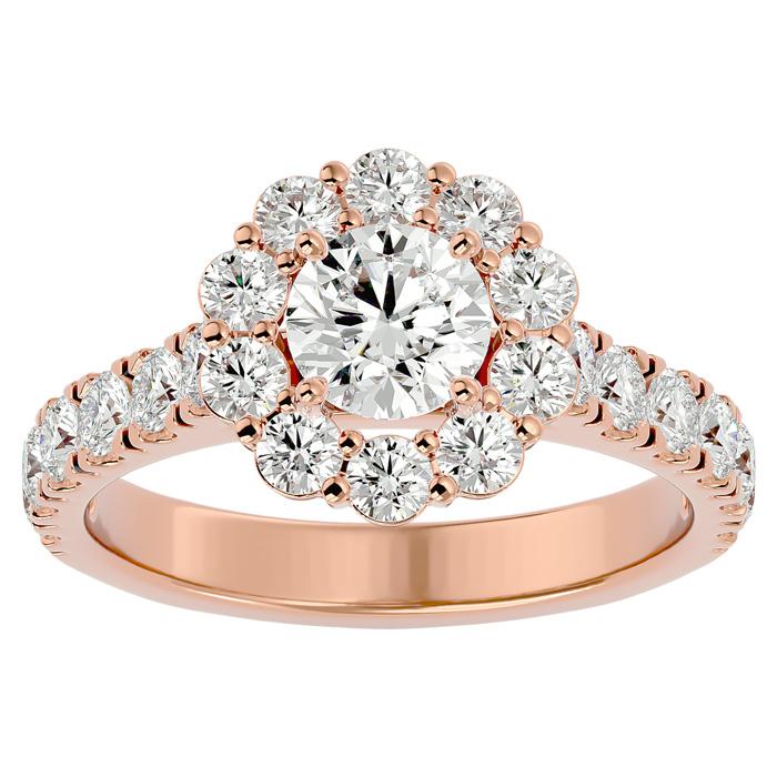2 Carat Halo Diamond Engagement Ring in 14K Rose Gold (5 1/2 g) (