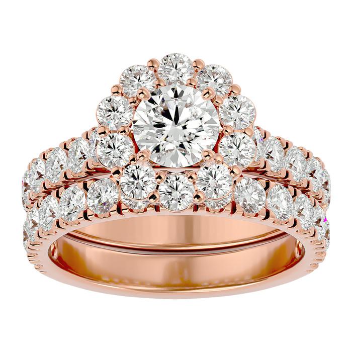 3 Carat Halo Diamond Bridal Ring Set in 14K Rose Gold (8 1/2 g) (