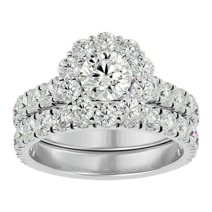 3 Carat Halo Diamond Bridal Ring Set in 14K White Gold (8 1/2 g) (