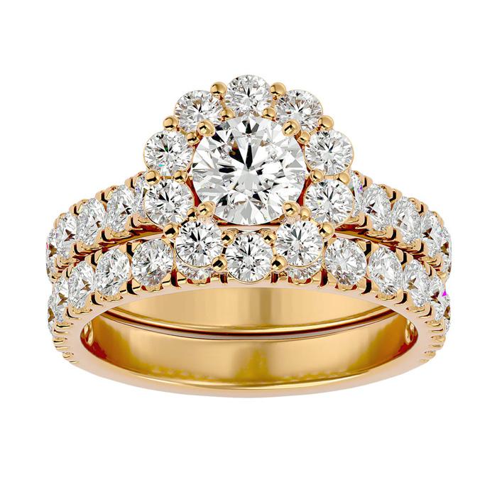 3 Carat Halo Diamond Bridal Ring Set in 14K Yellow Gold (8 1/2 g) (