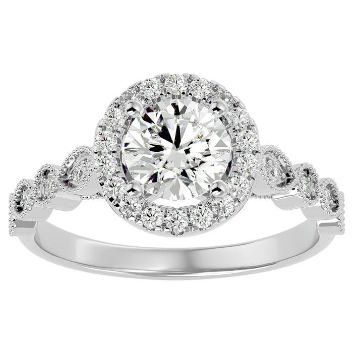 1 1/3 Carat Halo Diamond Engagement Ring in 14K White Gold (1.80 g) (