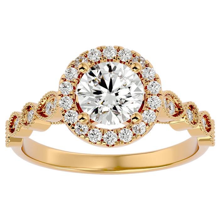 1 1/3 Carat Halo Diamond Engagement Ring in 14K Yellow Gold (1.80 g) (