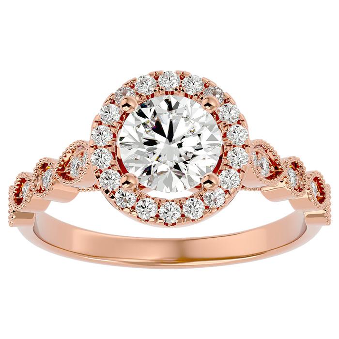 1 1/3 Carat Halo Diamond Engagement Ring in 14K Rose Gold (1.80 g) (