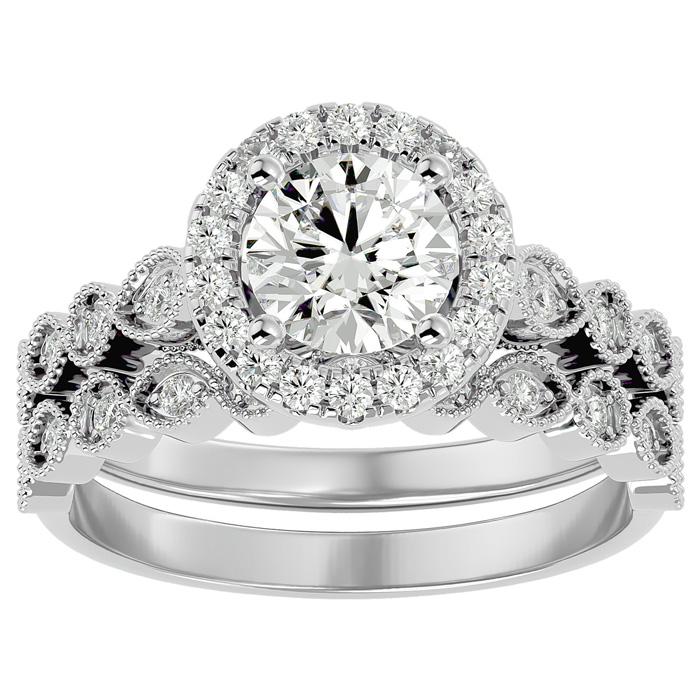 1.5 Carat Halo Diamond Bridal Ring Set in 14K White Gold (4.20 g) (
