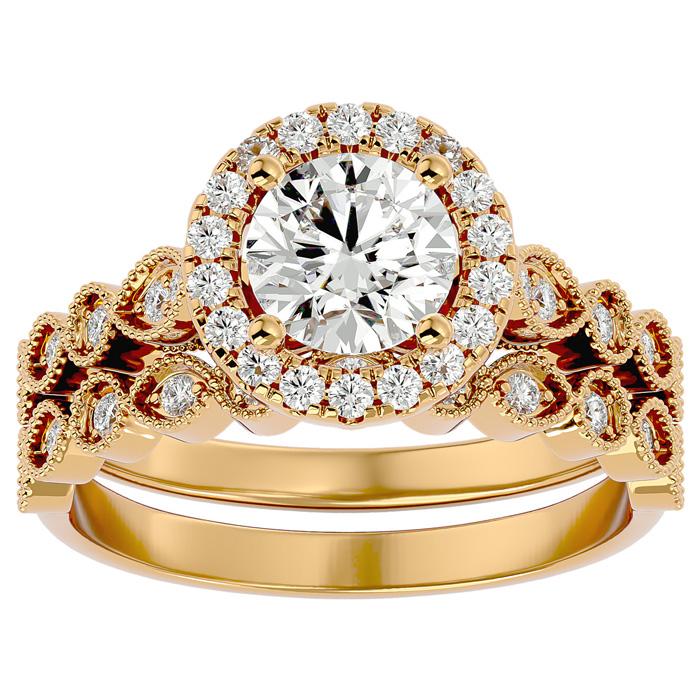 1.5 Carat Halo Diamond Bridal Ring Set in 14K Yellow Gold (4.20 g) (