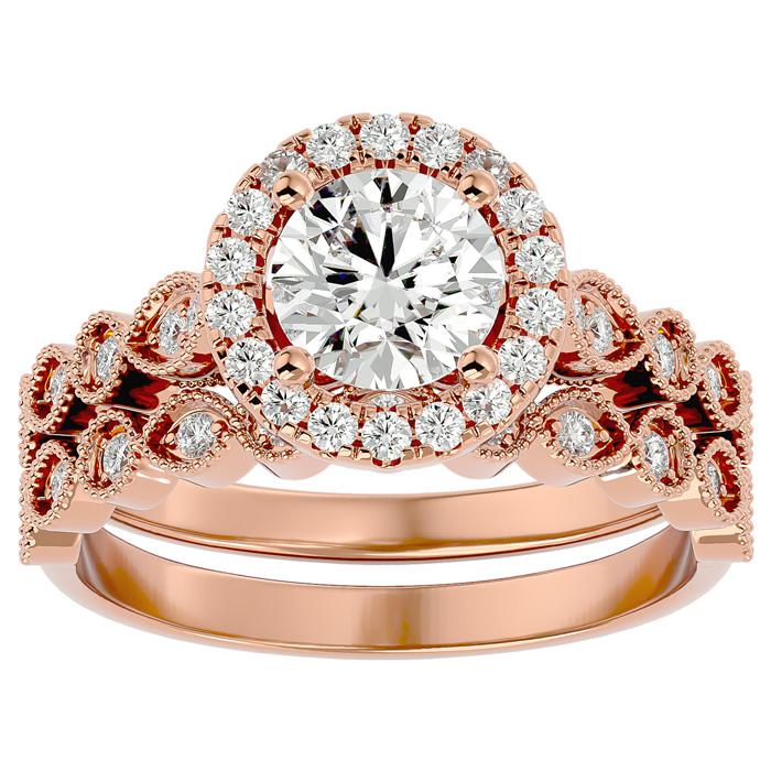 1.5 Carat Halo Diamond Bridal Ring Set in 14K Rose Gold (4.20 g) (