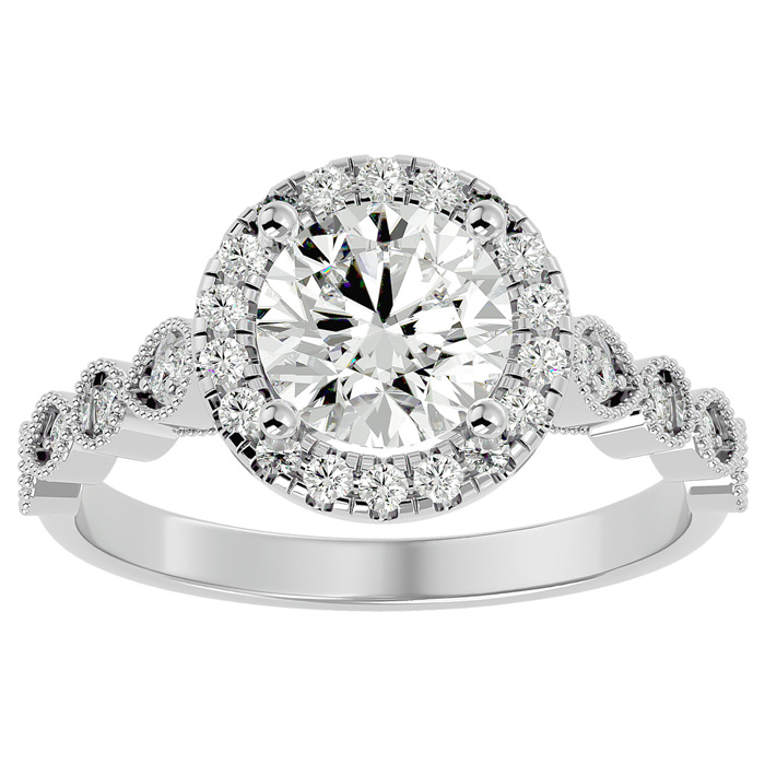 1 3/4 Carat Halo Diamond Engagement Ring in 14K White Gold (1.80 g) (