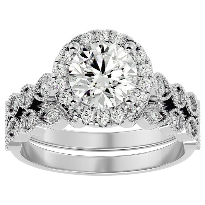 2 Carat Halo Diamond Bridal Ring Set in 14K White Gold (4.20 g) (