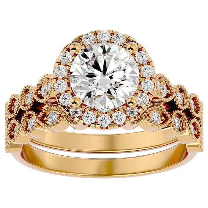 2 Carat Halo Diamond Bridal Ring Set in 14K Yellow Gold (4.20 g) (