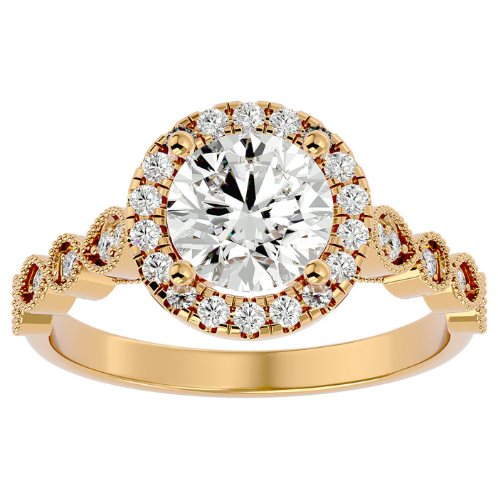 1 3/4 Carat Halo Diamond Engagement Ring in 14K Yellow Gold (1.80 g) (