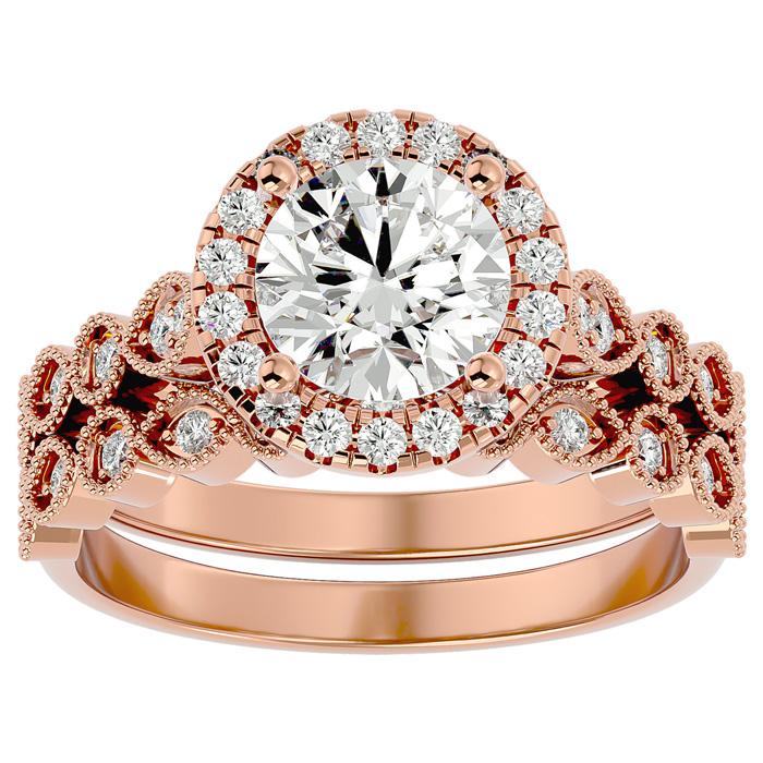 2 Carat Halo Diamond Bridal Ring Set in 14K Rose Gold (4.20 g) (