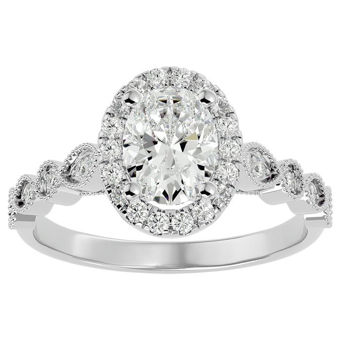 1 1/3 Carat Oval Shape Diamond Engagement Ring in 14K White Gold (3.90 g) (