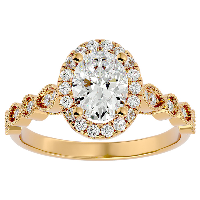 1 1/3 Carat Oval Shape Diamond Engagement Ring in 14K Yellow Gold (3.90 g) (
