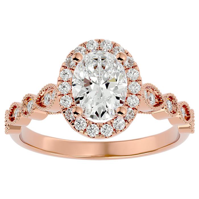 1 1/3 Carat Oval Shape Diamond Engagement Ring in 14K Rose Gold (3.90 g) (