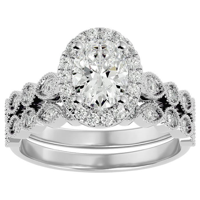 1.5 Carat Oval Shape Diamond Bridal Ring Set in 14K White Gold (6.30 g) (