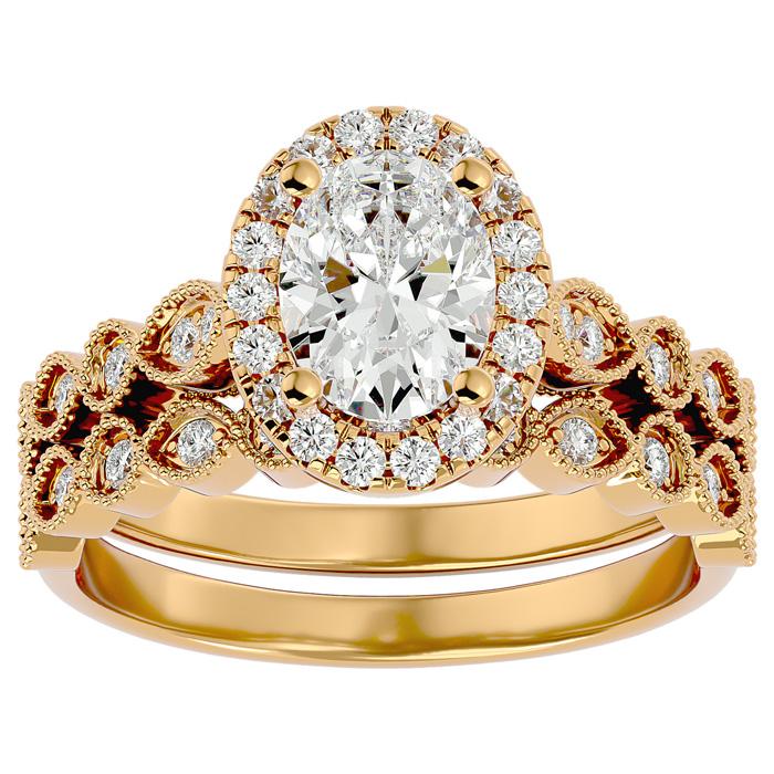 1.5 Carat Oval Shape Diamond Bridal Ring Set in 14K Yellow Gold (6.30 g) (