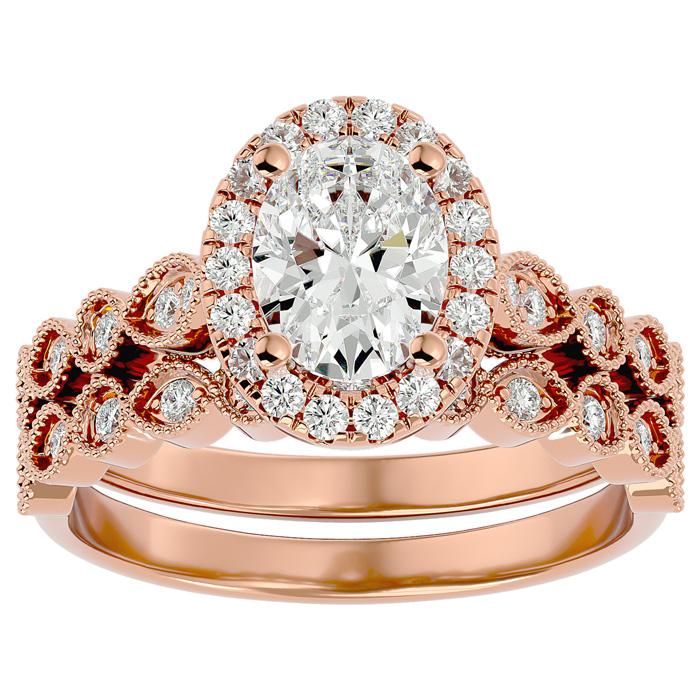 1.5 Carat Oval Shape Diamond Bridal Ring Set in 14K Rose Gold (6.30 g) (