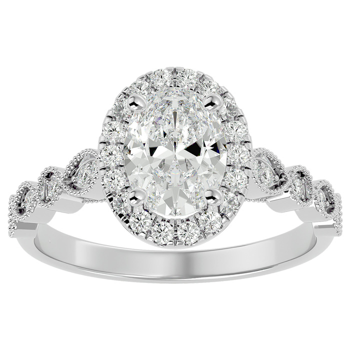 1 3/4 Carat Oval Shape Diamond Engagement Ring in 14K White Gold (3.90 g) (