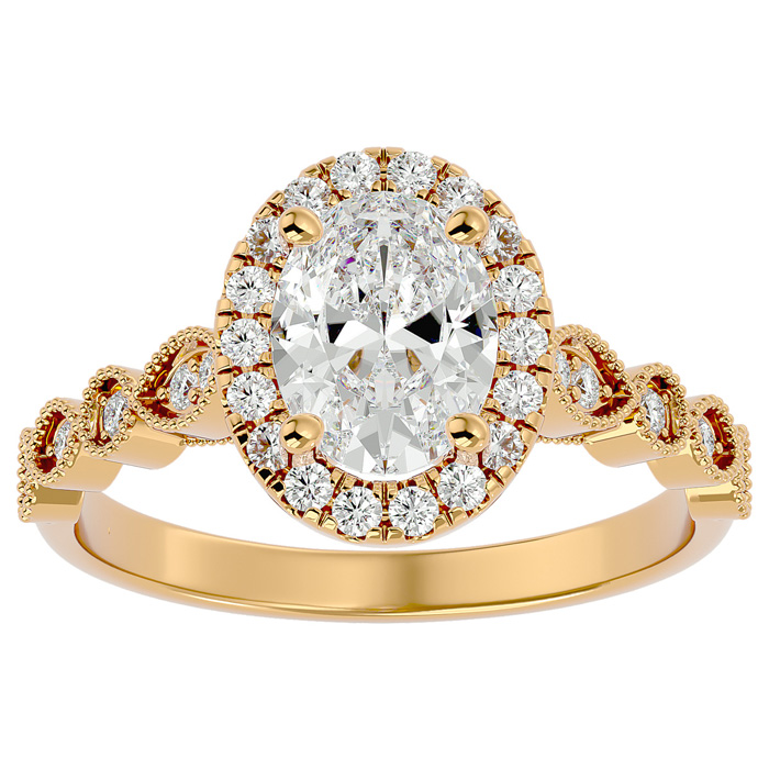 1 3/4 Carat Oval Shape Diamond Engagement Ring in 14K Yellow Gold (3.90 g) (