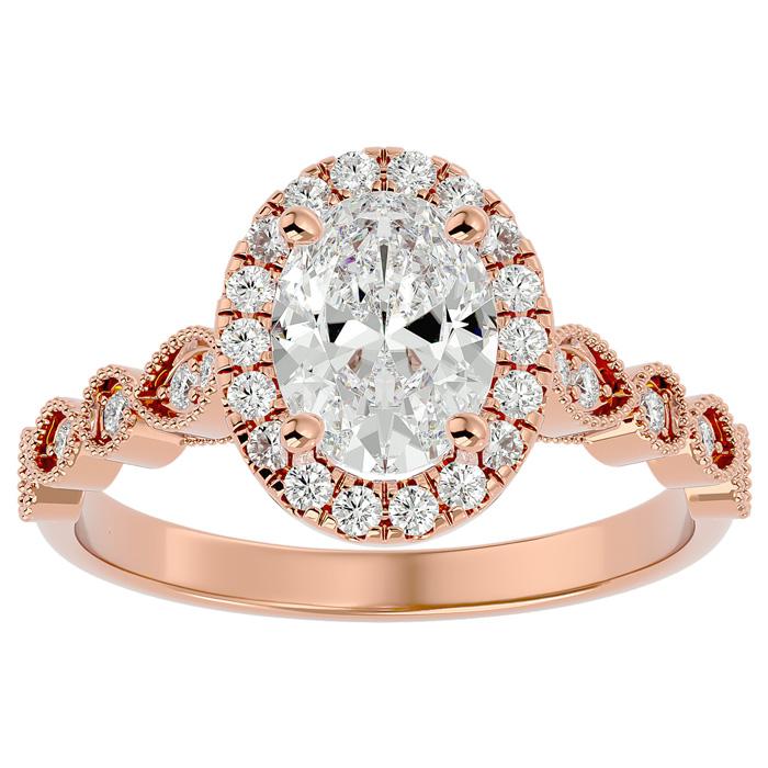 1 3/4 Carat Oval Shape Diamond Engagement Ring in 14K Rose Gold (3.90 g) (