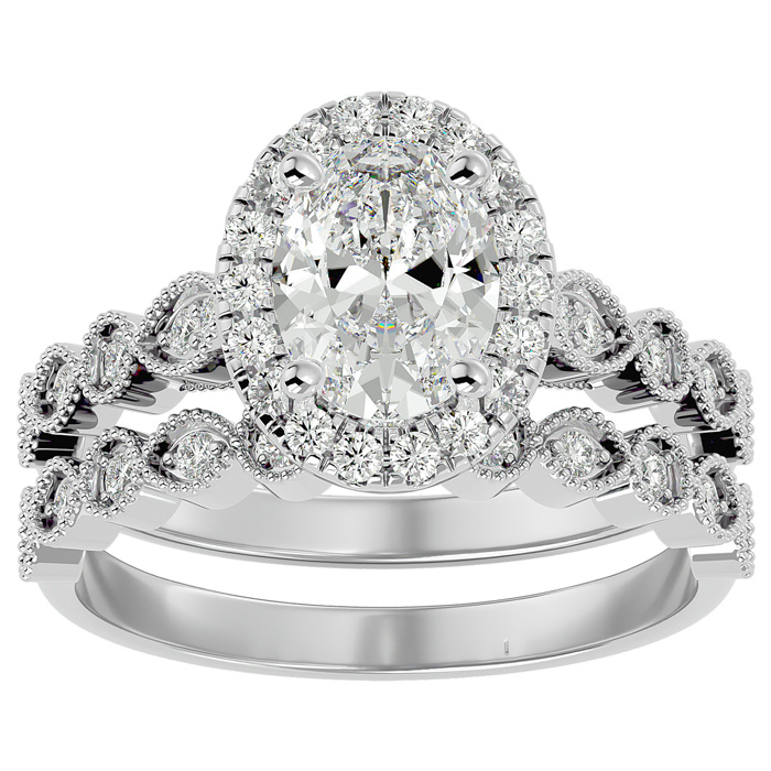 2 Carat Oval Shape Diamond Bridal Ring Set in 14K White Gold (6.30 g) (