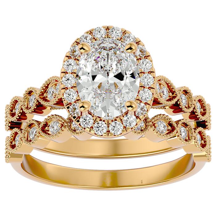 2 Carat Oval Shape Diamond Bridal Ring Set in 14K Yellow Gold (6.30 g) (