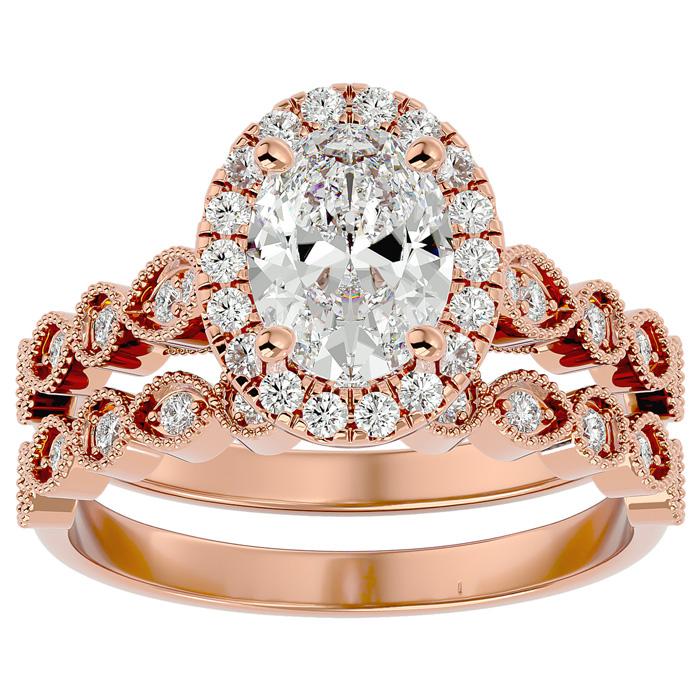 2 Carat Oval Shape Diamond Bridal Ring Set in 14K Rose Gold (6.30 g) (