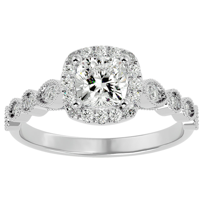 1 1/3 Carat Cushion Cut Diamond Engagement Ring in 14K White Gold (3.90 g) (