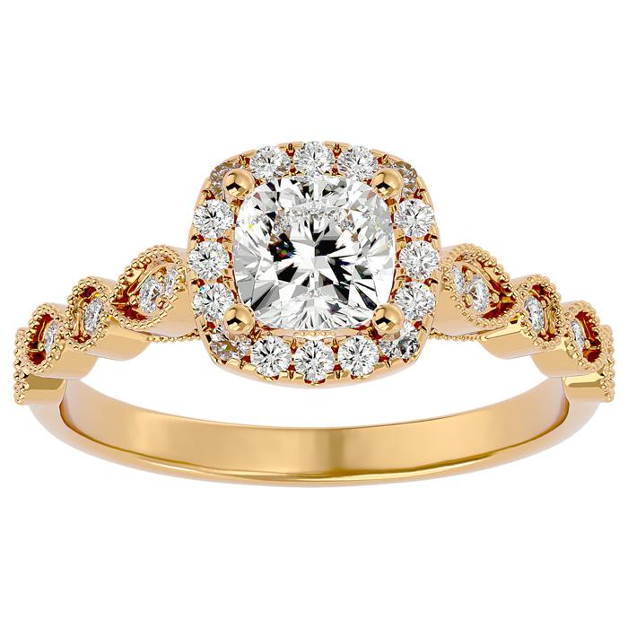 1 1/3 Carat Cushion Cut Diamond Engagement Ring in 14K Yellow Gold (3.90 g) (