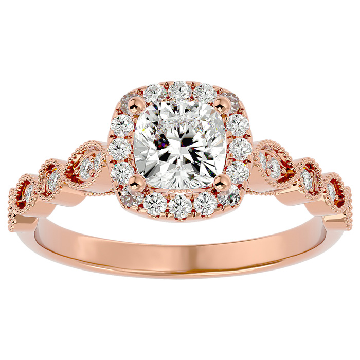 1 1/3 Carat Cushion Cut Diamond Engagement Ring in 14K Rose Gold (3.90 g) (