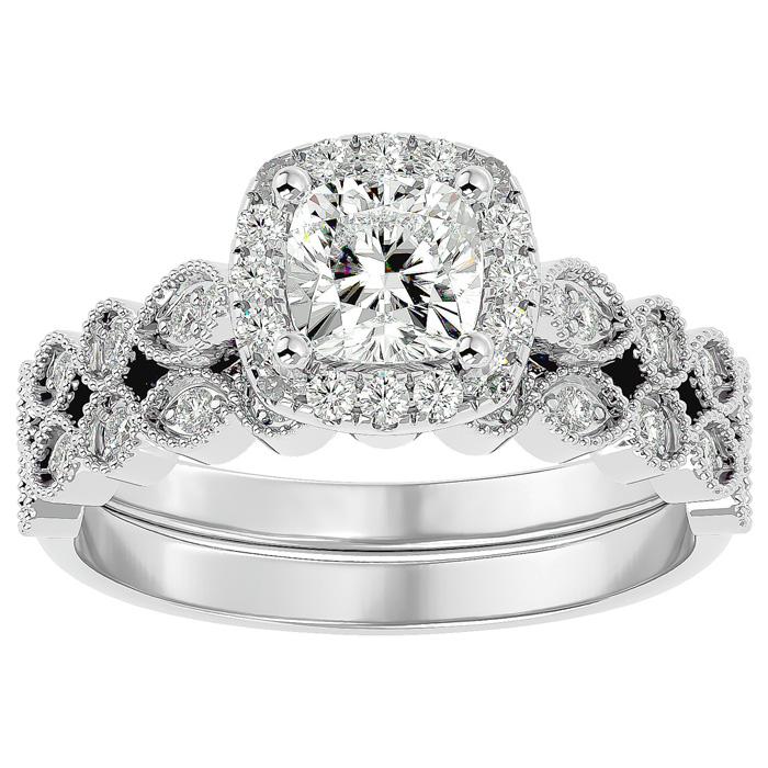 1.5 Carat Cushion Cut Diamond Bridal Ring Set in 14K White Gold (6.30 g) (
