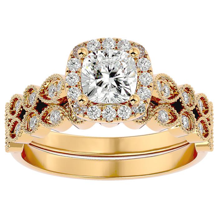1.5 Carat Cushion Cut Diamond Bridal Ring Set in 14K Yellow Gold (6.30 g) (