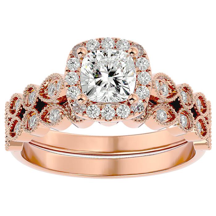 1.5 Carat Cushion Cut Diamond Bridal Ring Set in 14K Rose Gold (6.30 g) (