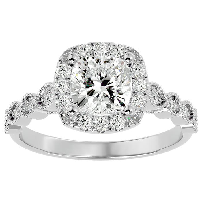 1 3/4 Carat Cushion Cut Diamond Engagement Ring in 14K White Gold (3.90 g) (