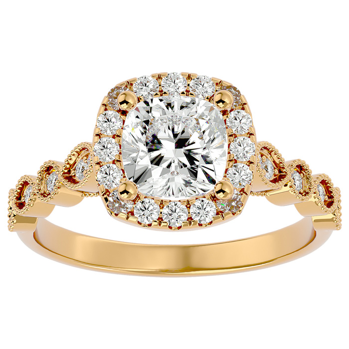1 3/4 Carat Cushion Cut Diamond Engagement Ring in 14K Yellow Gold (3.90 g) (