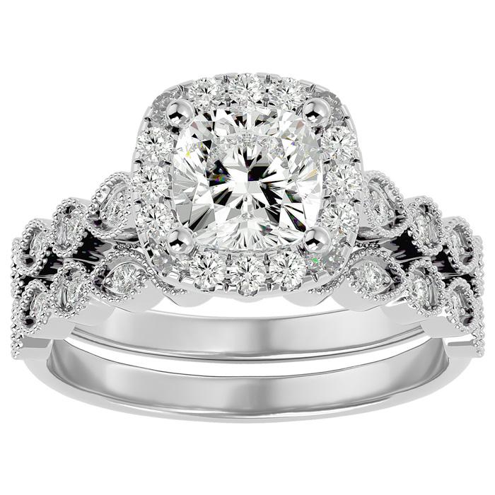 2 Carat Cushion Cut Diamond Bridal Ring Set in 14K White Gold (6.30 g) (