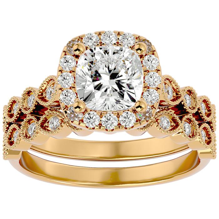 2 Carat Cushion Cut Diamond Bridal Ring Set in 14K Yellow Gold (6.30 g) (