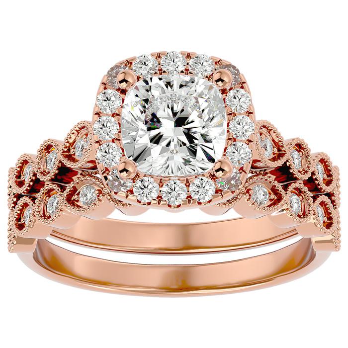 2 Carat Cushion Cut Diamond Bridal Ring Set in 14K Rose Gold (6.30 g) (