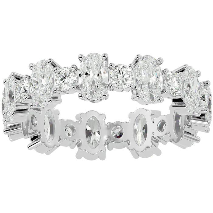 14K White Gold (3.10 g) 3 Carat Oval & Round Diamond Eternity Ring (