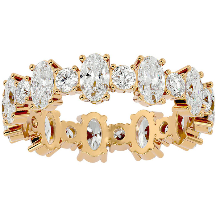 14K Yellow Gold (3.10 g) 3 Carat Oval & Round Diamond Eternity Ring (