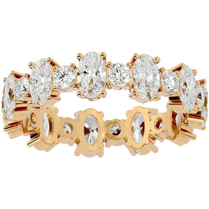 14K Yellow Gold (3.20 g) 3 1/2 Carat Oval & Round Diamond Eternity Ring (
