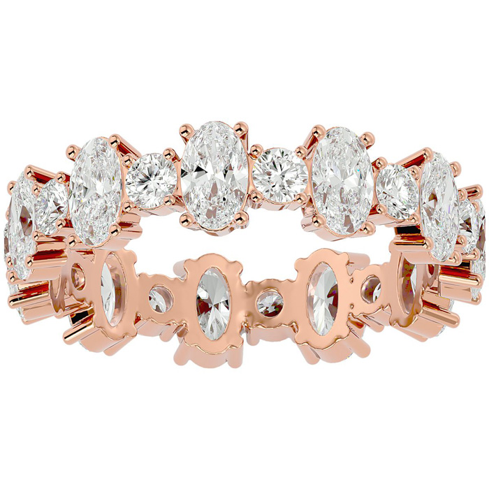 14K Rose Gold (3.10 g) 3 Carat Oval & Round Diamond Eternity Ring (