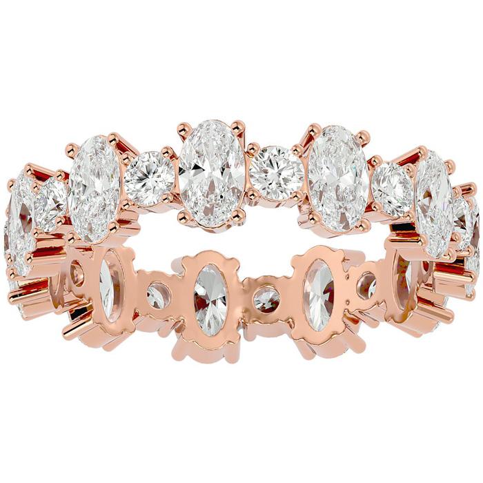 14K Rose Gold (3.20 g) 3 1/2 Carat Oval & Round Diamond Eternity Ring (