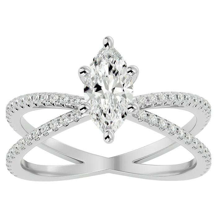 1.25 Carat Marquise Shape Diamond Engagement Ring in 14K White Gold (3.50 g) (