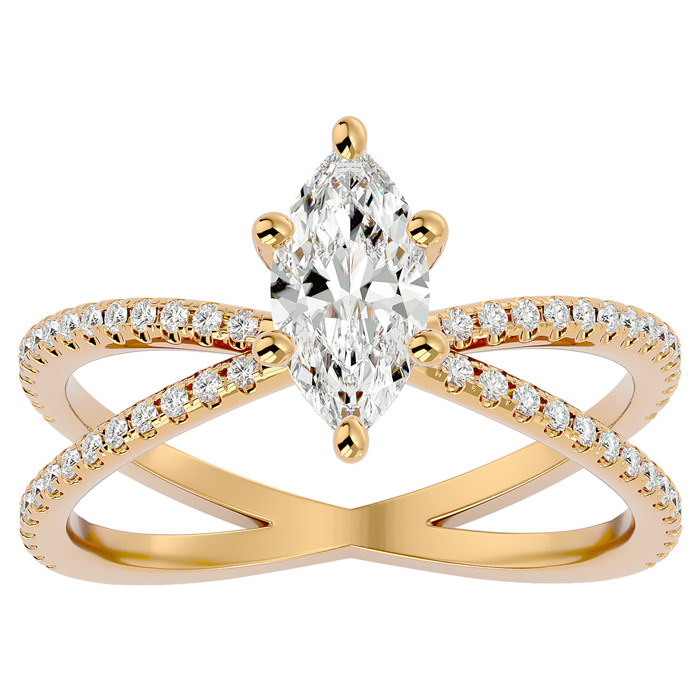1.25 Carat Marquise Shape Diamond Engagement Ring in 14K Yellow Gold (3.50 g) (